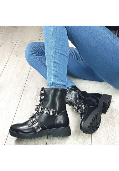 Czarne kobiece botki duże cyrkonie