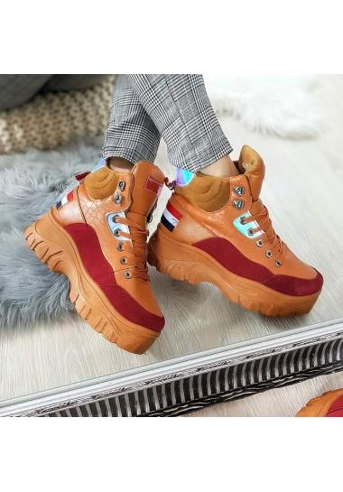 Sneakersy camelowo bordowe na platformie