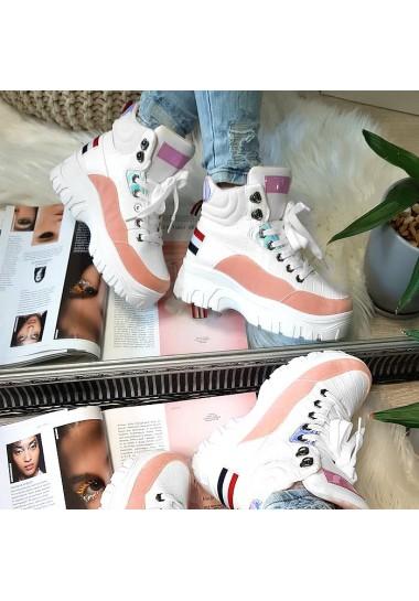 Sneakersy biało rożowe na platformie