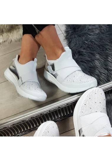 Białe wsuwane trampki adidasy z cyrkoniami