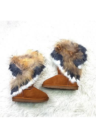 Śniegowce dziecięce skóra naturalna z futerkiem brązowe eskimoski
