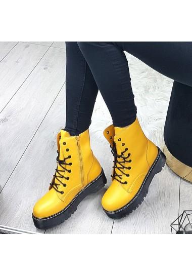 Żółte matowe wysokie botki a'la martensy