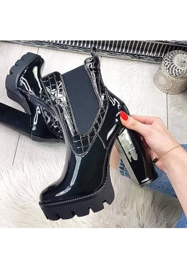 Czarne lakierowane botki na słupku szerokie gumy