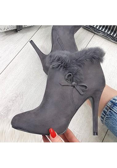 Szare botki damskie na obcasie zamszowe buty