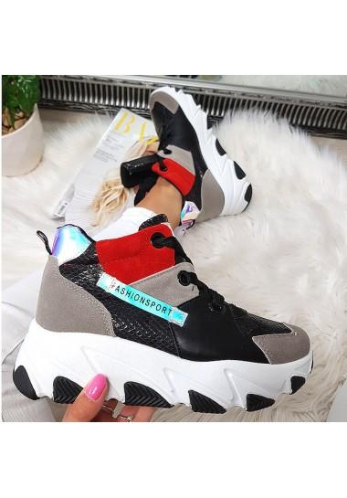 Kolorowe sneakersy szare trampki za kostkę