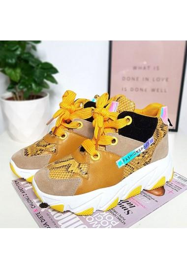 Kolorowe sneakersy żółte trampki za kostkę