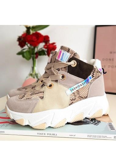 Kolorowe sneakersy beżowe trampki za kostkę