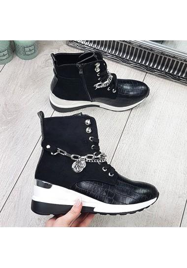 Czarne sneakersy za kostkę z łańcuchami