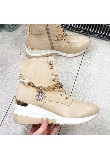 Beżowe sneakersy za kostkę z łańcuchami