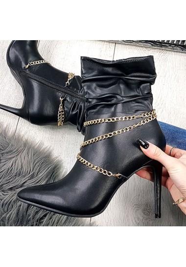 Czarne botki szpilki ze złotym łańcuszkiem